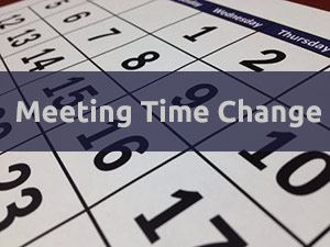 Calendar with words Meeting Time Change overlay