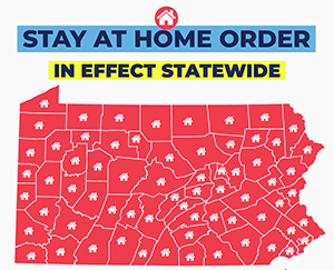 State-wide Order to Stay at Home Map of PA