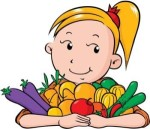 farm girl with vegetables
