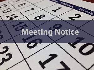 Calendar with words Meeting Notice overlay