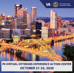 Aerial View of Pittsburgh, PA with text Virtual Veterans Experience Center