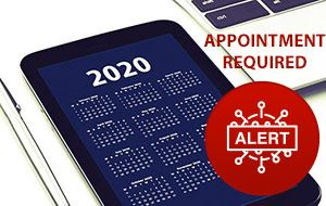 Appointment Required COVID-19 Alert