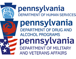 Logos from PA Departments of Human Services, Drug & Alcohol and Veterans