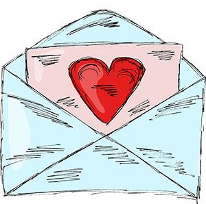 Open envelope with heart on it