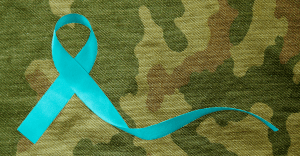 blue ribbon on camo