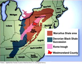 Marcellus Shale Opportunities Westmoreland County PA Official - Marcellus shale map