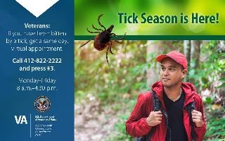 VA Tick Bite Clinic graphic with man hiking and big, icky tick