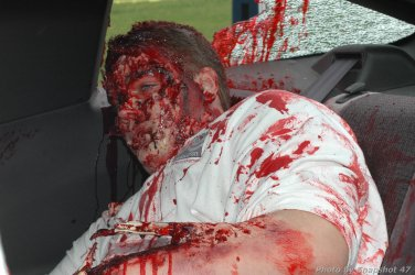 "Mock crash victim hit by a ""drunk driver"""