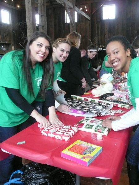 Saint Vincent Education Students Wrap Presents for Children's Bureau 7 Dec 13