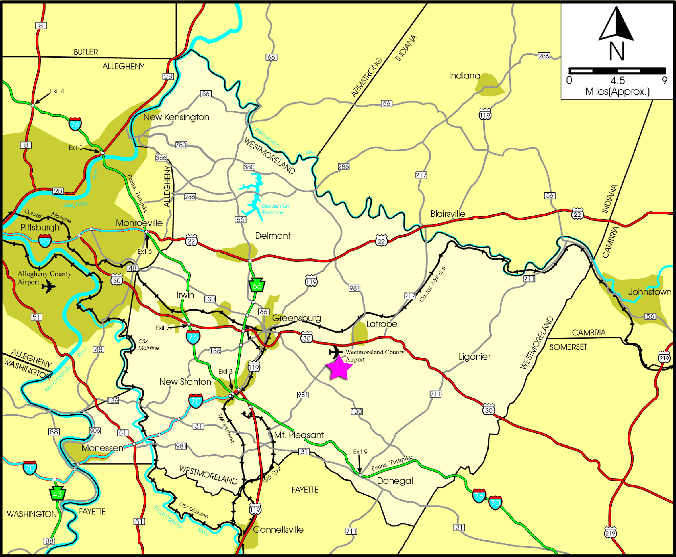 Location Map of Westmoreland County Airpark