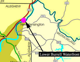 Location Map of Lower Burrell Waterfront Site