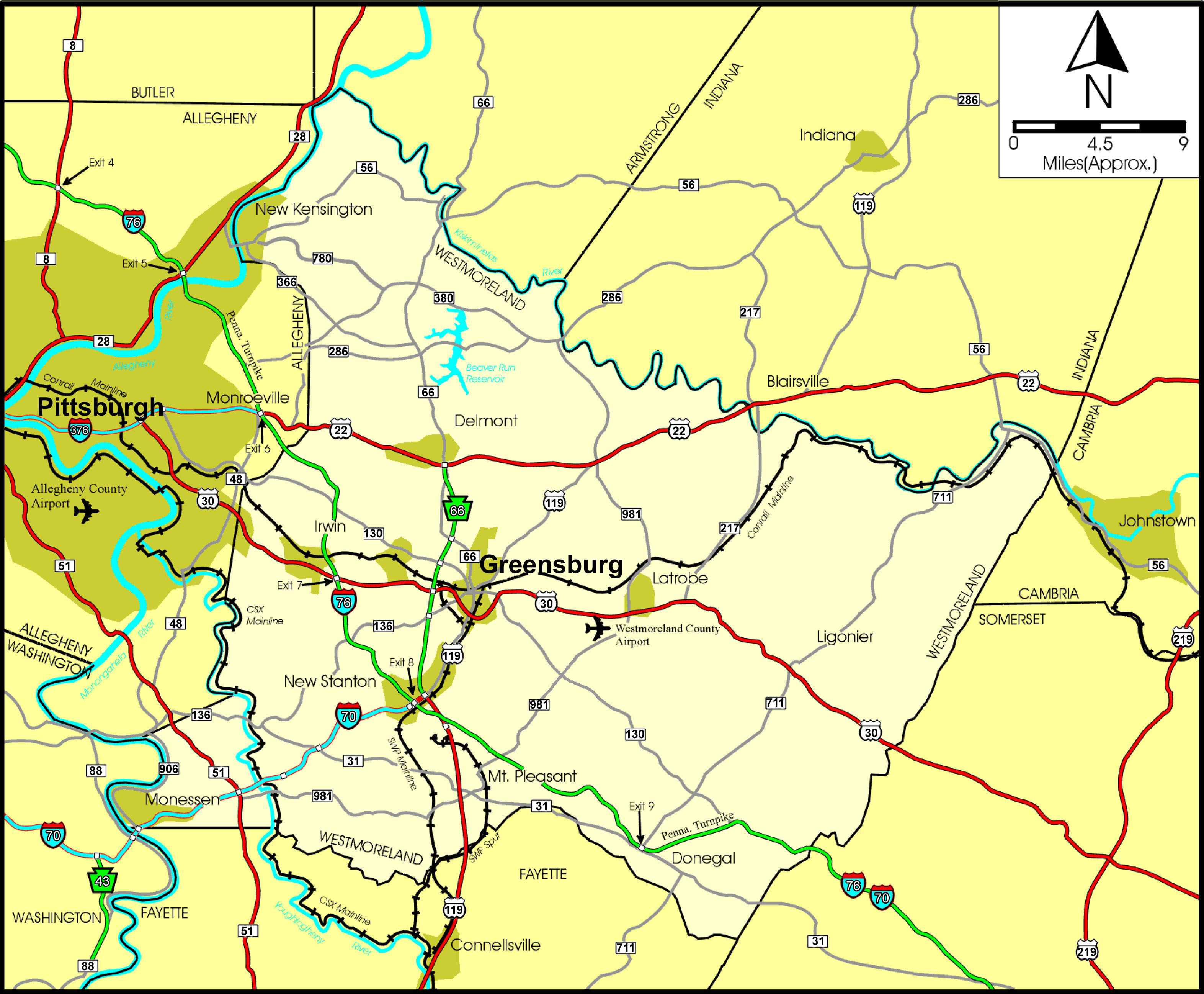 Highways Westmoreland County PA Official Website - Pa road map
